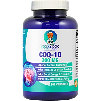 CoQ10 - Co-Enzyme Q10-200 mg - 200 Caps - High Absorption - Vegetable Capsules - Non-GMO - 6.5 Month Supply Heart & Cellular Energy by Foxxy Doc