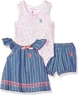 U.S. Polo Assn. Conjunto de Body y pantalón Corto de Punto para niñas