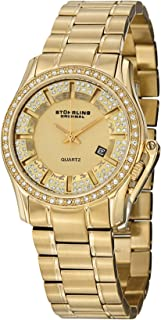 Stuhrling Original Women's Quartz Watch With Gold Dial Analogue Display and Gold Stainless Steel Bracelet 910.02, Gold Band