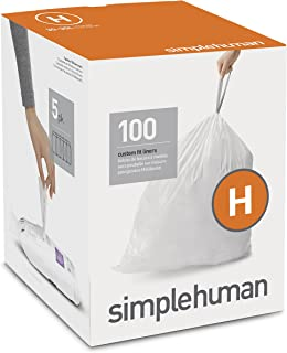 simplehuman Code H Custom Fit Drawstring Trash Bags, 30 - 35 Liter / 8 - 9 Gallon, 100-Count Box