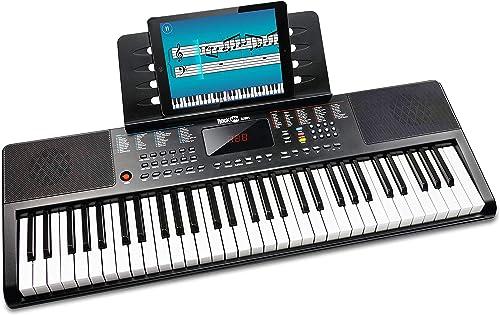 Clavier Compact 61 touches RockJam avec support de partition, alimentation, autocollants pour notes de piano et leçon...