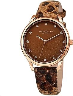 Akribos XXIV Womens Swarovski Watch - Python Pattern Embossed Dial with Swarovski Crystal Markers on a Python Embossed Lea...