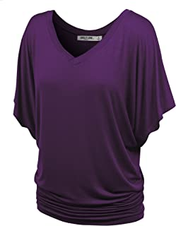 Lock and Love Women's Solid Short Sleeve Boat Crew Neck V Neck Dolman Top XS - 5XL Plus Size Made in USA