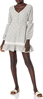 cupcakes and cashmere womens harmoni printed long sleeve dress with trims Dress