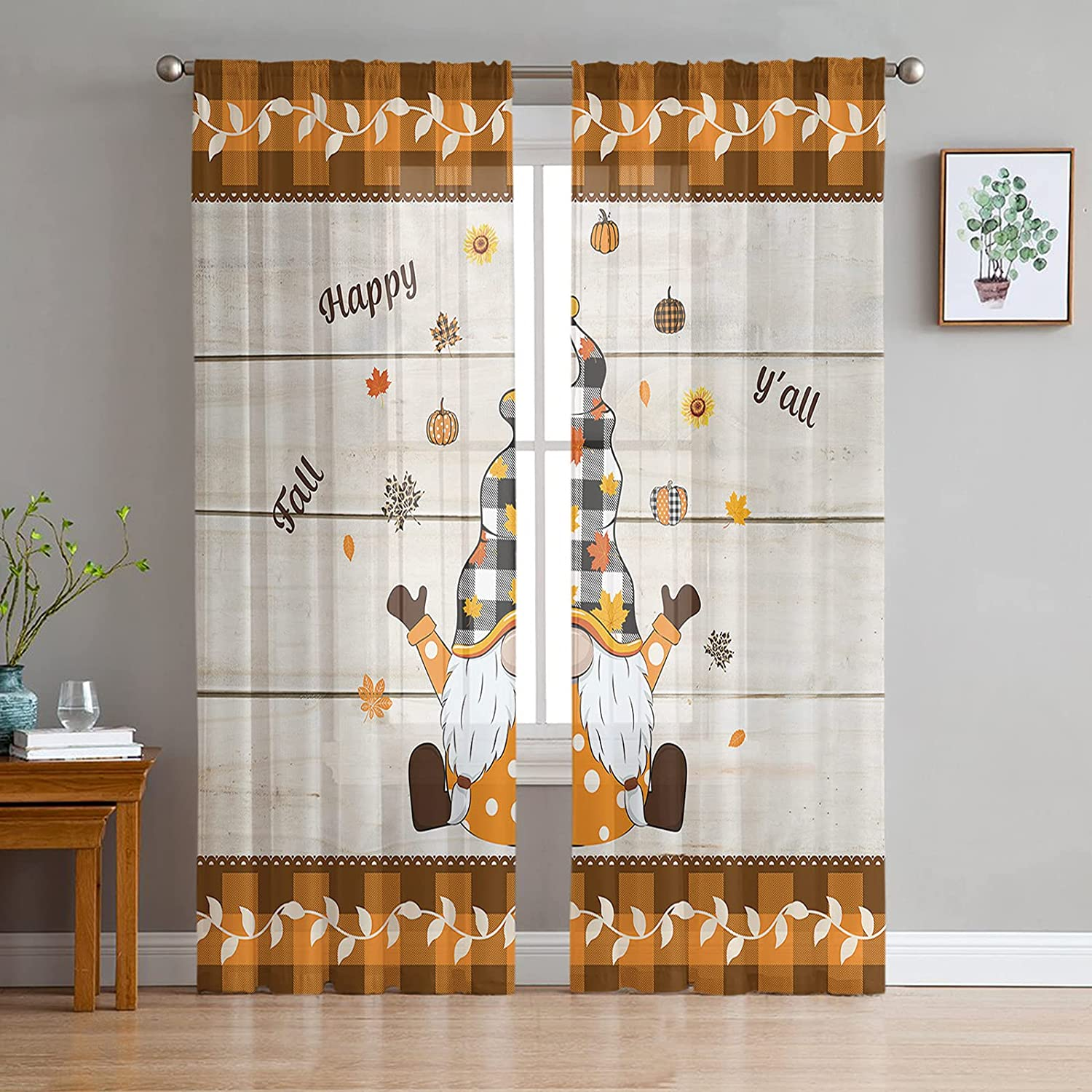 2 Max 90% OFF Panels Semi Sheer Voile Fall Happy Thanksgiving Curtains Ranking TOP19 Y'all