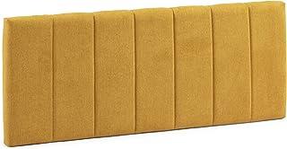 Cabecero tapizado Creta 140x60 cm Color Mostaza, para Cama 135, Acolchado con Espuma, Bordado Vertical, 8 cm de Grosor, Incluye herrajes para Colgar