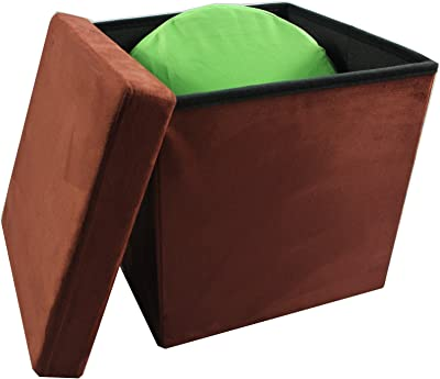 """Achim Home Furnishings OTSD15BR04 Collapsible Storage Ottoman, Brick Suede, 15"""" X 15"""""""