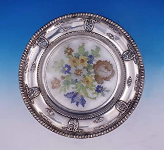 Rose Point by Wallace Sterling Silver Plate w/Glass and Needlework Pattern #3134