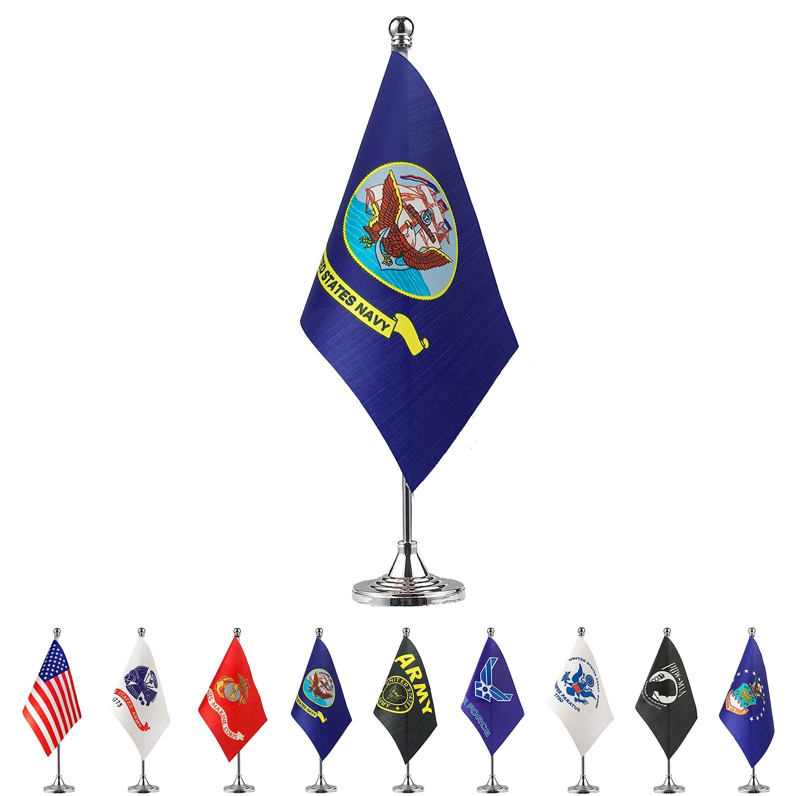 Military Branches USA and Pow Mia Stick Set Flag Wood Staff Ant Enterprises 12x18 12x18 U.S