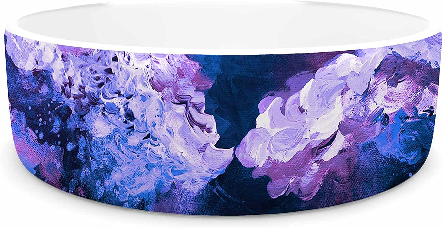 KESS InHouse EBI Emporium It's A pink colord Life 7  Purple bluee Painting Pet Bowl, 7  Diameter