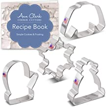 Ann Clark Cookie Cutters 4 Piece Winter and Christmas Cookie Cutter Set with Recipe Booklet, Snowflake, Sweater, Mitten an...