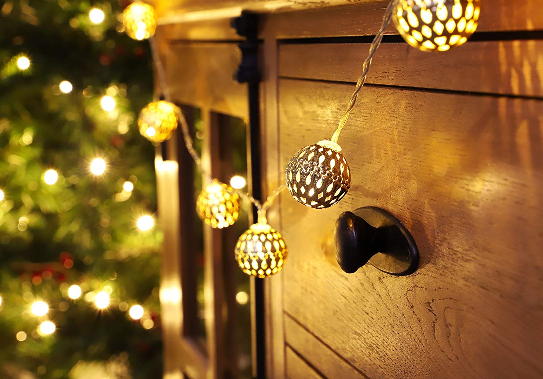 4 METERS RGB LED CHRISTMAS XMAS TREE LIGHTS DECORATION 20 SILVER BALLS LIGHTS