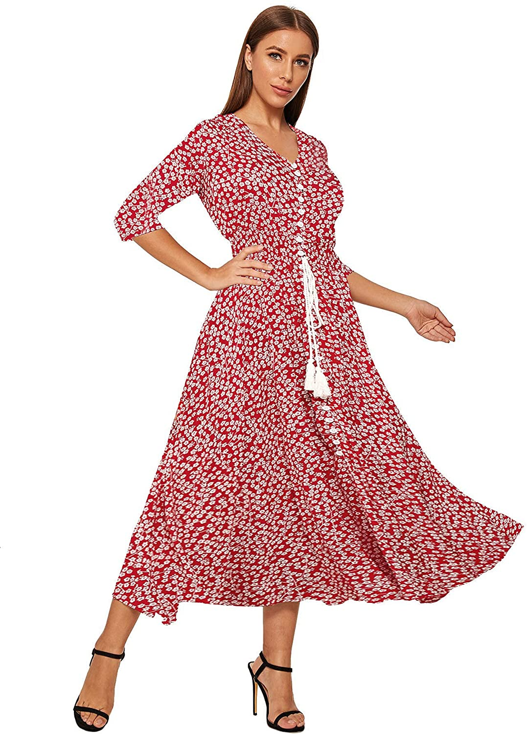 Milumia Women's Button Up Flared Flowy A Line Half Sleeve Party Maxi Dress