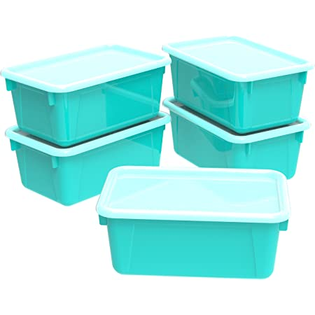 Amazon Com Storex Small Cubby Bins With Covers 12 2 X 7 8 X 5 1 Inches Assorted Colors Case Of 5 62406u05c Office Products