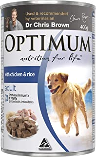 OPTIMUM Chicken and Rice Wet Dog Food, 400g Can, 24 Pack, Adult, Small/Medium/Large