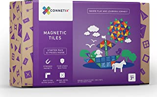 Connetix Magnetic Tiles 62 Piece Set   The Best STEM Approved Educational Toy for Kids of All Ages   Stronger Magnets so Y...