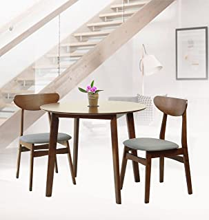 SK New Interiors Rattan Wicker Furniture Set of 3 Dining Kitchen Round Table and 2 Yumiko Side Chairs Solid Wood w/Padded Seat Medium Brown