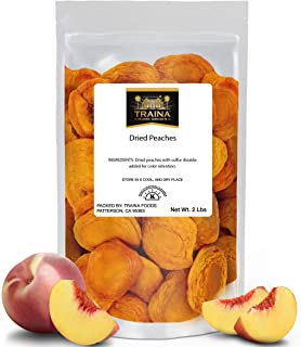 Traina Home Grown California Extra Fancy Dried Peaches - No Sugar Added, Non GMO, Gluten Free, Vegan, Packed in Resealable...