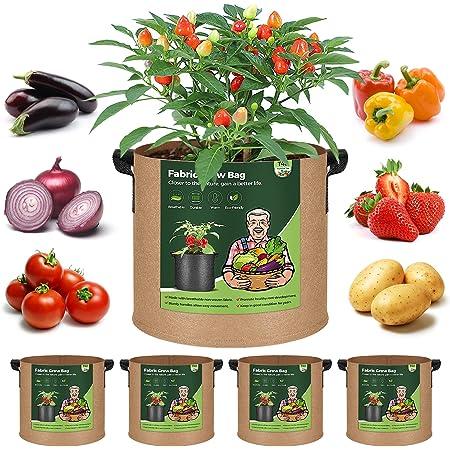 T4U 不織布プランター 布鉢 持ち手付き 5ガロン 5個セット 不織布ポット フェルト 栽培袋 厚手 植え袋 植物育成 花栽培 野菜栽培 園芸 根域制限 茶色