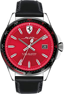 Ferrari Men's Red Dial Leather Band Watch - 830489