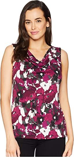 Printed Cowl Neck Sleeveless Knit Top