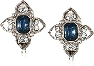 1928 Jewelry Women's Silver Tone Blue Rectangle Crystal Floral Clip Earrings, Blue, One Size