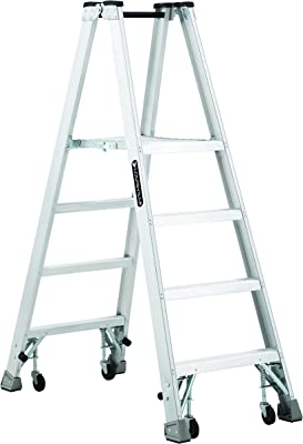 Louisville Ladder AMP1004-4C Aluminum Platform Ladder with Caster and 350 lb Load Capacity, 4'