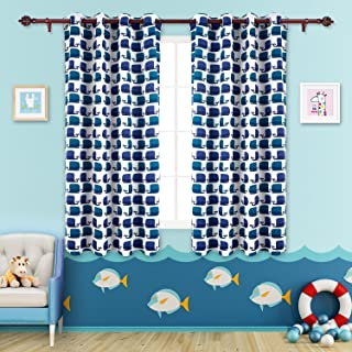 Deconovo Decorative Whale Print Grommet Top Thermal Insulated Blackout Curtains for Kids Bedroom and Nursery Room Darkening Curtain Panels 52x63 Inch 2 Panels