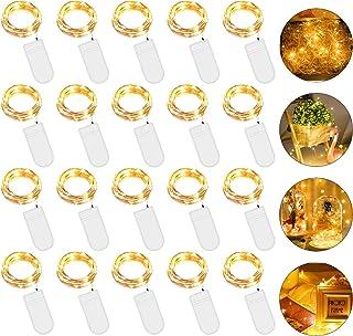 Guirlande Lumineuse Pile, Guirlandes Lumineuse Rideau 2M 20 LED[Lot de 20], IP67 Mini Fairy Light interieur et extérieur R...