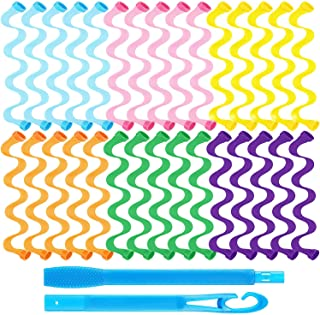 30 Pieces Hair Curlers Styling Kit, Wave Style Hair Rollers Spiral Curls No Heat Hair Curlers with Styling Hooks for Women...