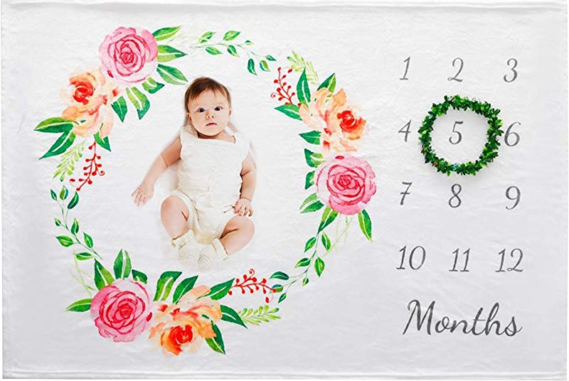 Baby Monthly Milestone Blanket Large 60 X 40 Includes Floral Wreath Soft Fleece Photography Backdrop Newborn Girls Photo Prop Best Baby Shower Gift Baby Blanket For Girls