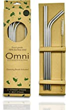Stainless Steel Reusable Straws with Cleaning Brush, Extra Long 267mm (10.5 inch), Dishwasher Safe, Premium Box Containing...