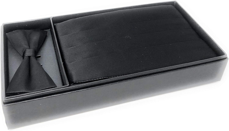 100% Silk Formal Bow Tie & Cummerbund Wedding Gift Set Made In Italy Black