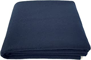 EKTOS 100% Wool Blanket, Navy Blue, Warm & Heavy 5.5 lbs, Large Washable 66