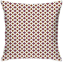 Uanlic Decorative Throw Pillows Covers with Insert,Balinese Ethnic Retro Mosaic Pattern with Circles and Squares,18x18 Inches Square Patio Cushions for Couch Bed Sofa Patio Furniture