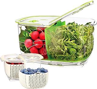 Luxear Lot de 2 Boîtes Fraicheur Organisateur de Frigo sans BPA avec Grille d 'Aération, Boîte de Conservation Alimentaire...