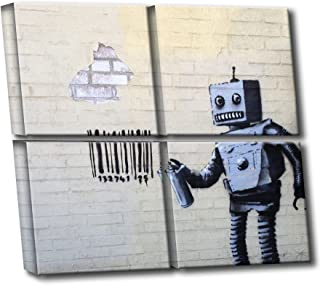 Banksy Street Graffiti Coney Island Robot Barcode Multi-panel HD Canvas Wall Art 4-piece