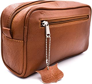 Parker Safety Razor's Handmade Saddle Leather Travel Toiletry Bag Dopp Kit for Men
