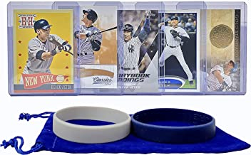 Derek Jeter Baseball Cards (5) ASSORTED New York Yankees Trading Card and Wristbands Gift Bundle