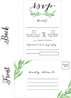 50 Floral RSVP Cards, RSVP Postcards No Envelopes Needed, Response Card, Blank RSVP Reply, RSVP for Wedding, Rehearsal Dinner, Baby Shower, Bridal, Birthday, Engagement, Bachelorette Party Invitations