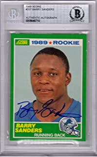 Barry Sanders Signed Detroit Lions 1989 Score Rookie Card #257 - (Beckett Encapsulated) - Football Slabbed Autographed Rookie Cards
