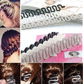 6PCS OPCC Fashion French Hair Styling Clip Stick Bun Maker Braid Tool Hair Accessories Twist Plait Hair Braiding Tool(Black,Gray and White)