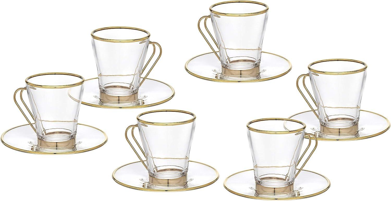 Godinger - Citation Tea Set Gold Max 45% OFF and Coffe Glass Rim Clear Max 82% OFF