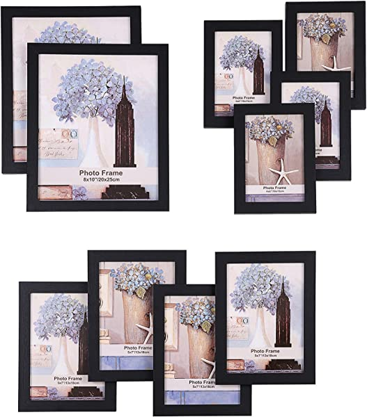 SONGMICS Picture Frames Set Of 10 Frames With Glass Front Two 8x10 Inches In Four 5x7 Inches In Four 4x6 Inches In Collage Photo Frames Wood Grain Black URPF10B