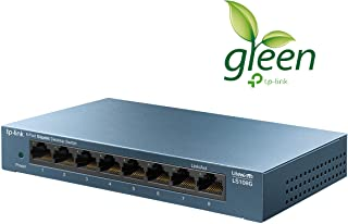 TP-Link LS108G 8-Port Desktop/Wallmount Gigabit Ethernet Switch/Hub, Network Splitter, Plug and Play, Steel Case