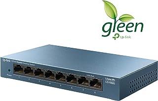 TP-Link LS108G 8-Port Desktop/Wallmount Gigabit Ethernet Switch/Hub, Network Splitter, Plug and Play, Steel Case