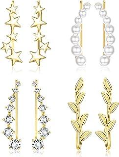 YADOCA 4Pairs Ear Cuff Climbers Earrings for Women CZ Inlaid Pearl Leaf Star Ear Crawlers Earring Set