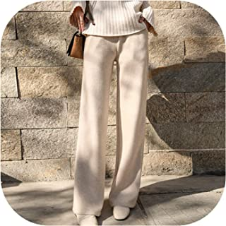 Women Students high Waist Loose Straight Pant Knit Trousers Casual Winter Pants Women