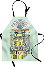 Ambesonne Book Apron, Wordsbout Happiness Being Related to Book Printed in Cartoon Style on Books, Unisex Kitchen Bib with Adjustable Neck for Cooking Gardening, Adult Size, Pale Seafoam
