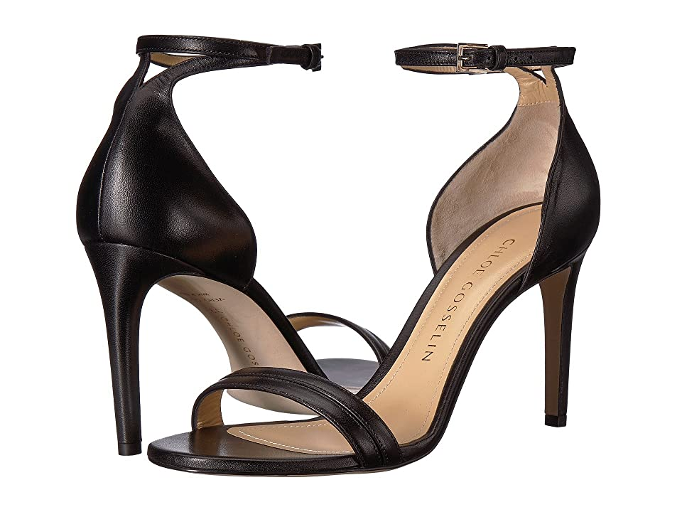 CHLOE GOSSELIN Narcissus Ankle Strap Open Toe Heel (Black Nappa) Women